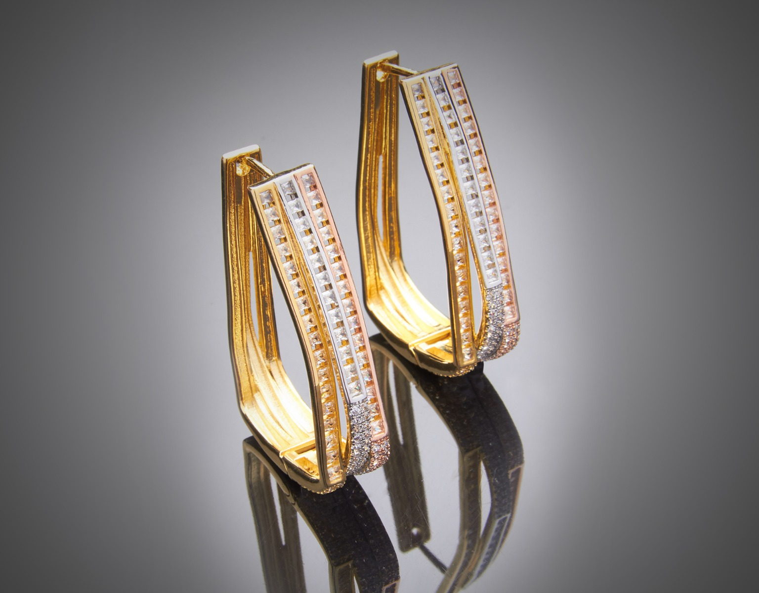 Channel Set Hoop Earrings