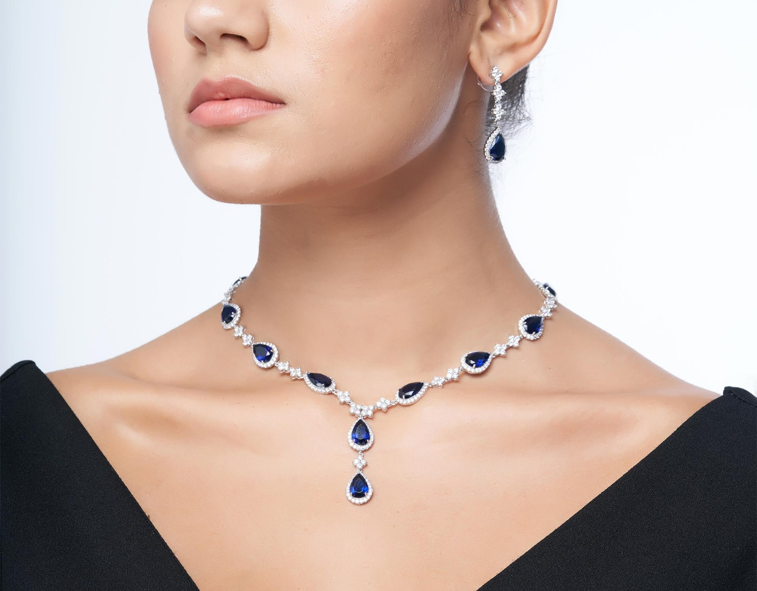 Royal Blue Necklace & Earrings Set