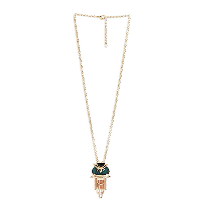 Teal and Nude Long Necklace